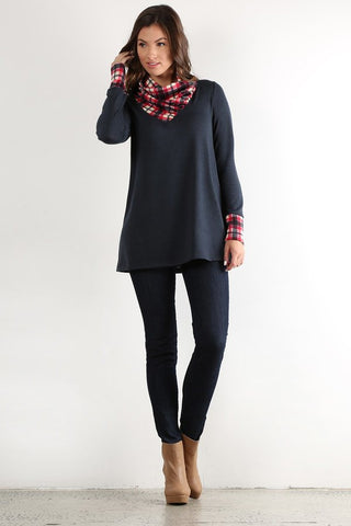 Plaid Cowl Neck Top