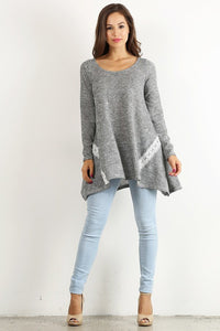 Lace Detail Long Sleeve Tunic