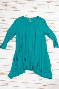 Teal Shark Bite Hem Tunic