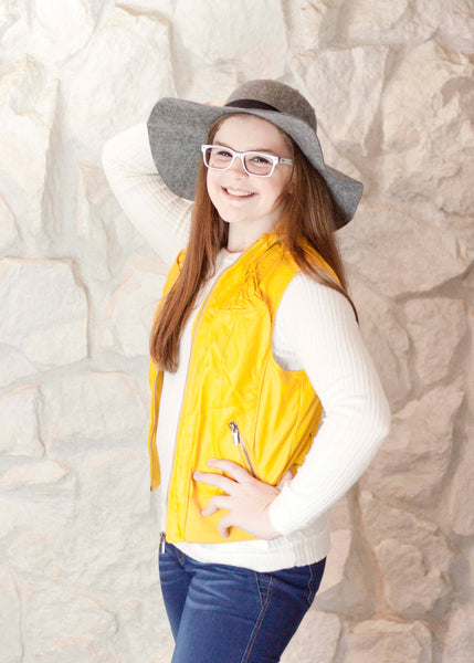 Mustard Fur Lined Faux Leather Vest