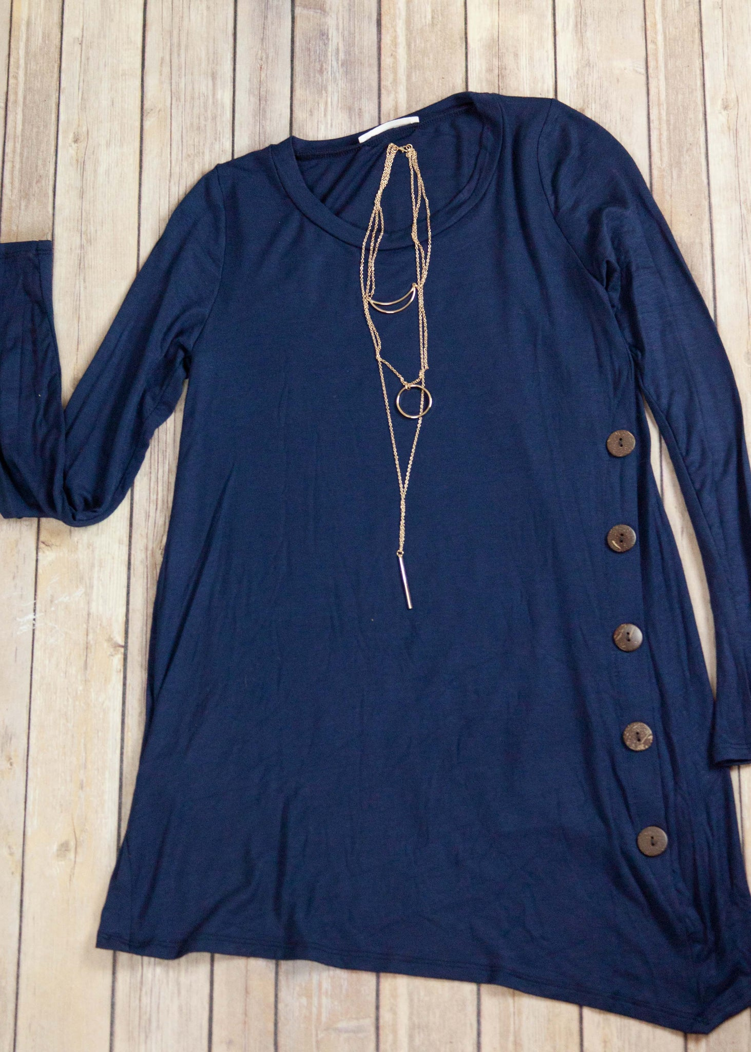 Navy Side Button Tunic