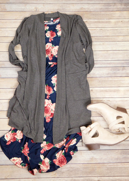 Navy Floral Pocket Dress