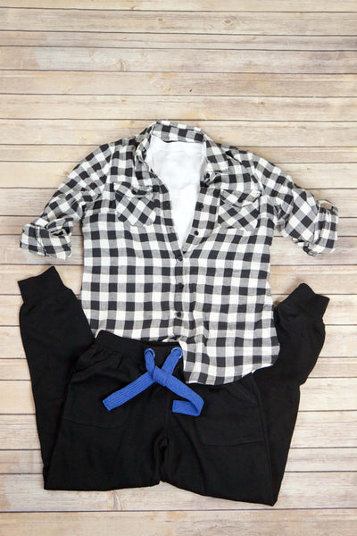 Black and White Plaid Button Up