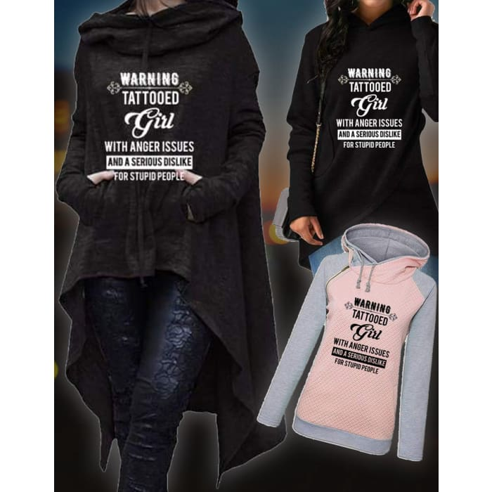 3 in 1 Bundle - Matilda - Warning - Tattooed Girl With Anger Issues... Pullovers Just Superb Free Shipping