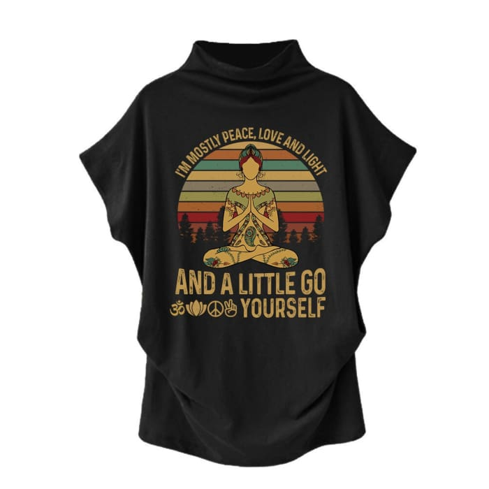Agasthi - Im Mostly Peace Love And Light... Casual Turtleneck Blouse Black / S (4 US) (8 UK) Blouses & Shirts Just Superb Free Shipping
