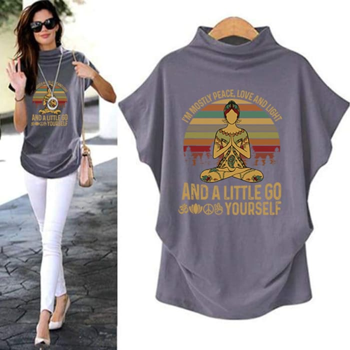 Agasthi - Im Mostly Peace Love And Light... Casual Turtleneck Blouse Blouses & Shirts Just Superb Free Shipping