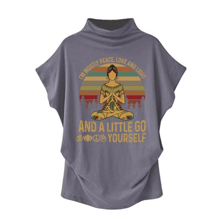 Agasthi - Im Mostly Peace Love And Light... Casual Turtleneck Blouse Gray / S (4 US) (8 UK) Blouses & Shirts Just Superb Free Shipping