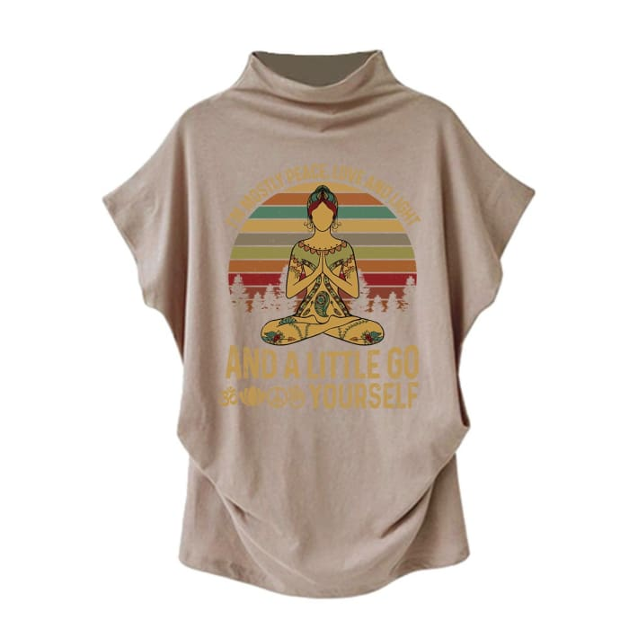 Agasthi - Im Mostly Peace Love And Light... Casual Turtleneck Blouse Khaki / S (4 US) (8 UK) Blouses & Shirts Just Superb Free Shipping