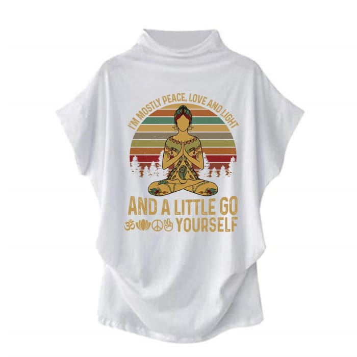 Agasthi - Im Mostly Peace Love And Light... Casual Turtleneck Blouse White / S (4 US) (8 UK) Blouses & Shirts Just Superb Free Shipping