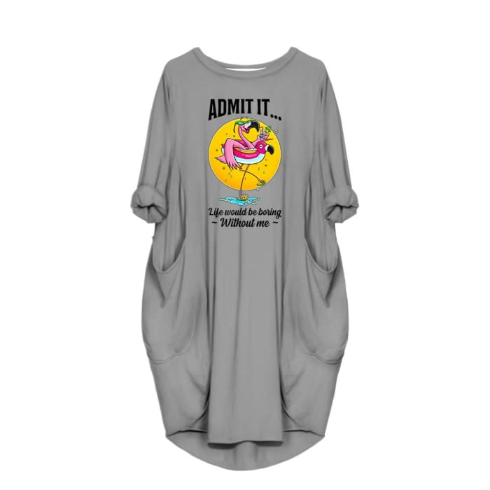Aleeza - Admit It...Life Would Be Boring Without Me Dress For Her Gray / S (4-6 US) (8 UK) Just Superb Free Shipping