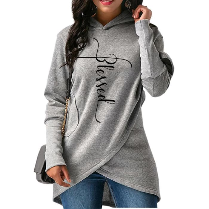 Alveena - Blessed Hoodie For Her Gray / S (US XXS) (UK XS) Hoodie Just Superb Free Shipping