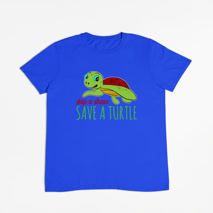 Azure - Skip A Straw Save A Turtle T-Shirt Men / Black / S (4-6 US) (8 UK) Just Superb Free Shipping
