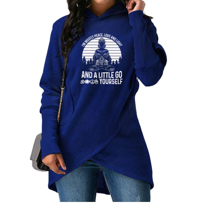 Bernadea - Im Mostly Peace Love And Light And A... Hoodie Blue / S (US XXS / UK XS) Hoodie Just Superb Free Shipping