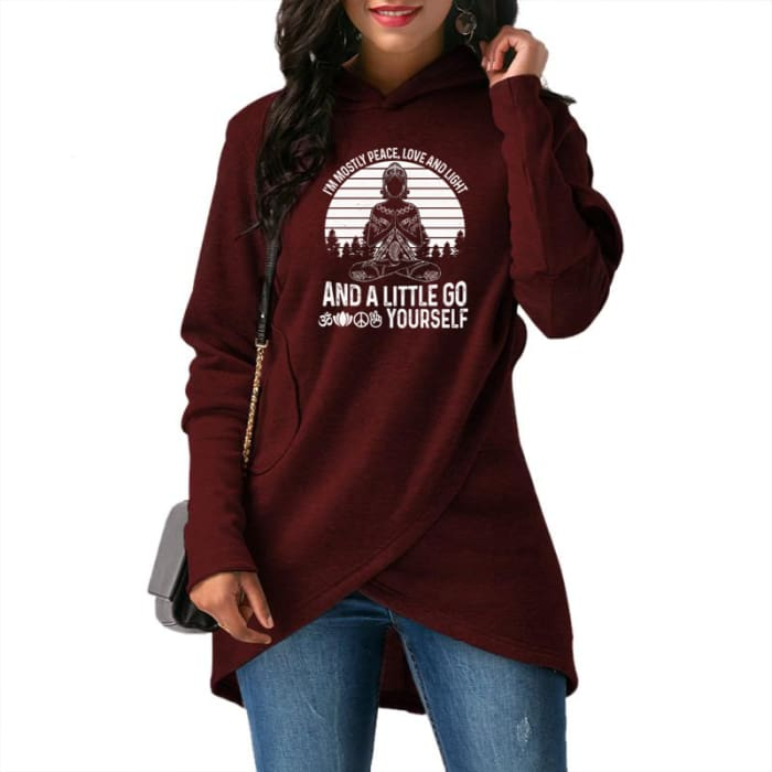 Bernadea - Im Mostly Peace Love And Light And A... Hoodie Red / S (US XXS / UK XS) Hoodie Just Superb Free Shipping