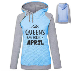 Crown - Queens Are Born In April Hoodie Blue / S (US XXS) (UK XS) Hoodie Just Superb Free Shipping