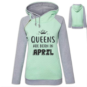 Crown - Queens Are Born In April Hoodie Green / S (US XXS) (UK XS) Hoodie Just Superb Free Shipping