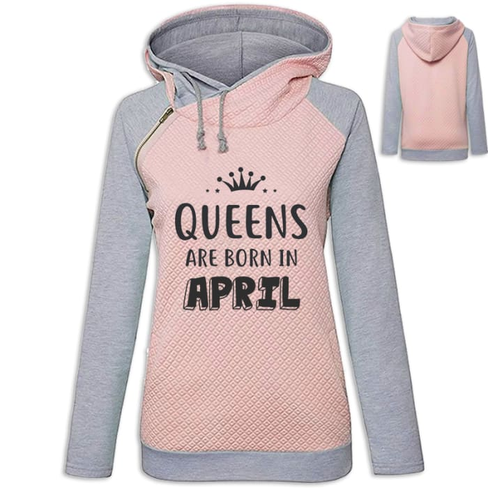 Crown - Queens Are Born In April Hoodie Pink / S (US XXS) (UK XS) Hoodie Just Superb Free Shipping