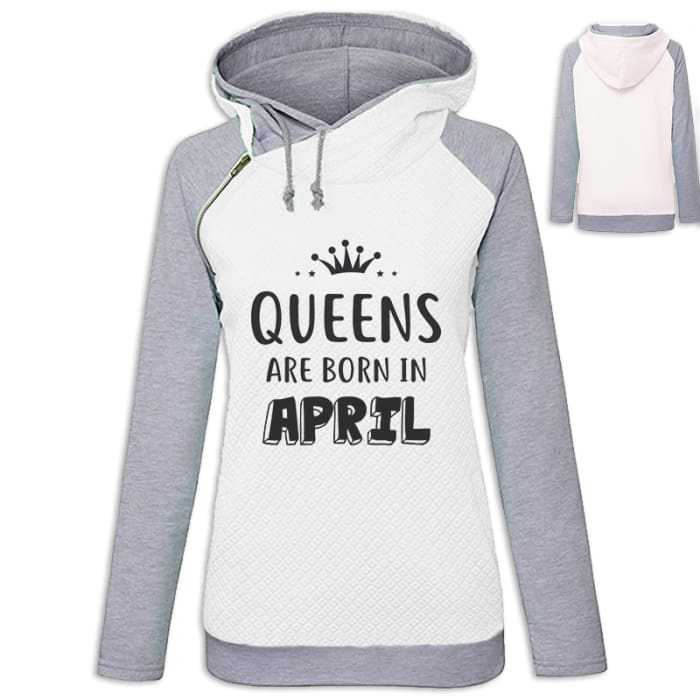 Crown - Queens Are Born In April Hoodie White / S (US XXS) (UK XS) Hoodie Just Superb Free Shipping