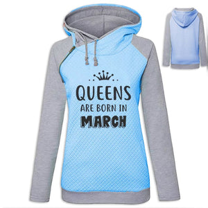 Crown - Queens Are Born In March Hoodie Blue / S (US XXS) (UK XS) Hoodie Just Superb Free Shipping