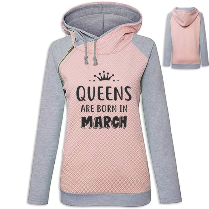 Crown - Queens Are Born In March Hoodie Pink / S (US XXS) (UK XS) Hoodie Just Superb Free Shipping