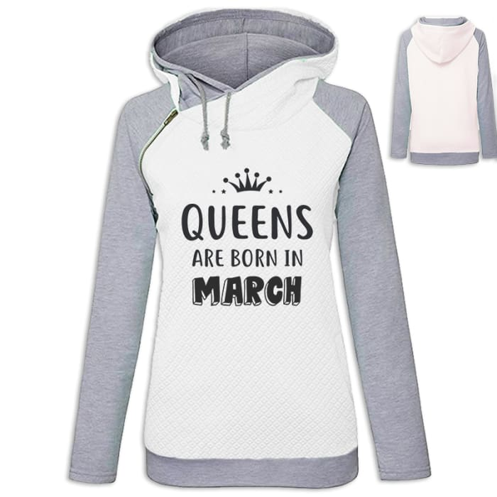 Crown - Queens Are Born In March Hoodie White / S (US XXS) (UK XS) Hoodie Just Superb Free Shipping