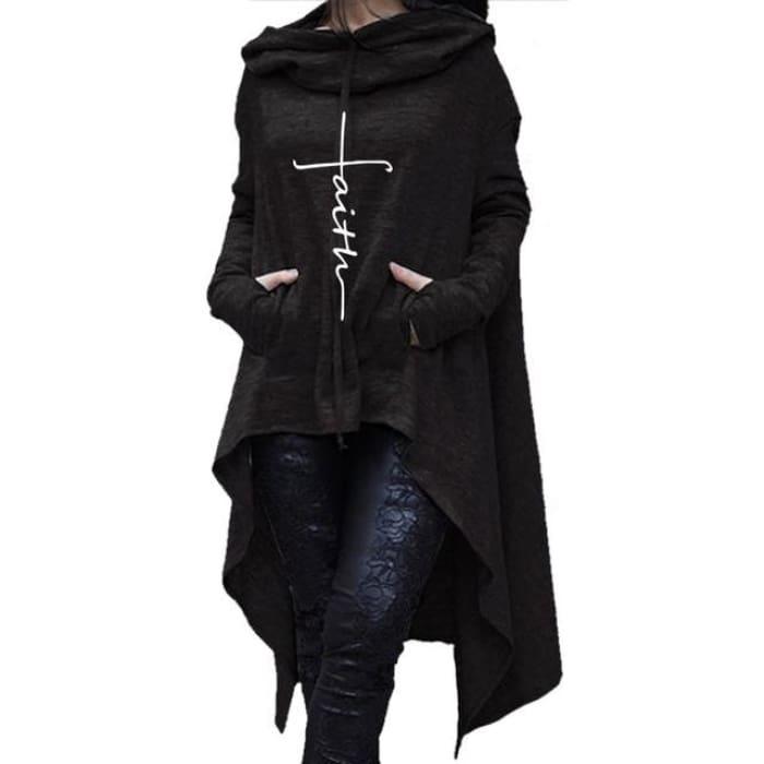 Faith - Glorious Longtail Hoodie For Her Black / S (US XXS) (UK XS) Hoodie Just Superb Free Shipping