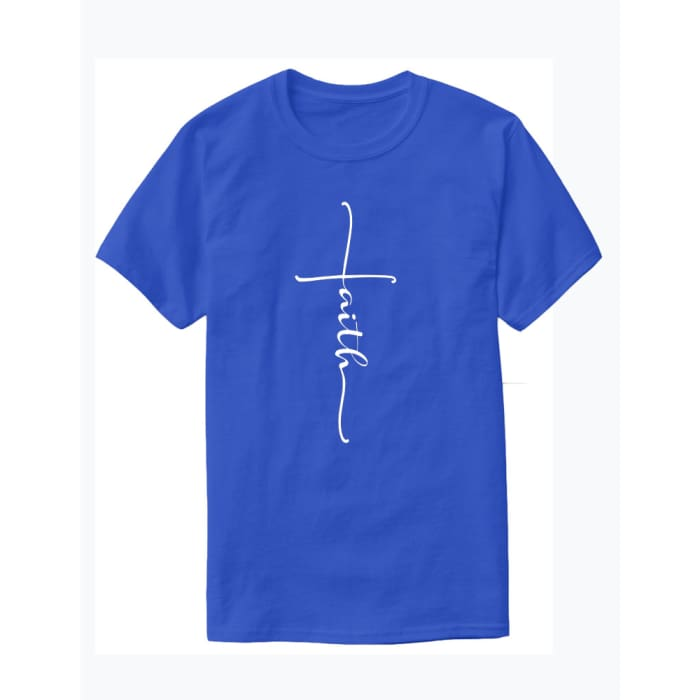 Glorious Faith T-Shirt Men / Blue / S (4-6 US) (8 UK) Just Superb Free Shipping