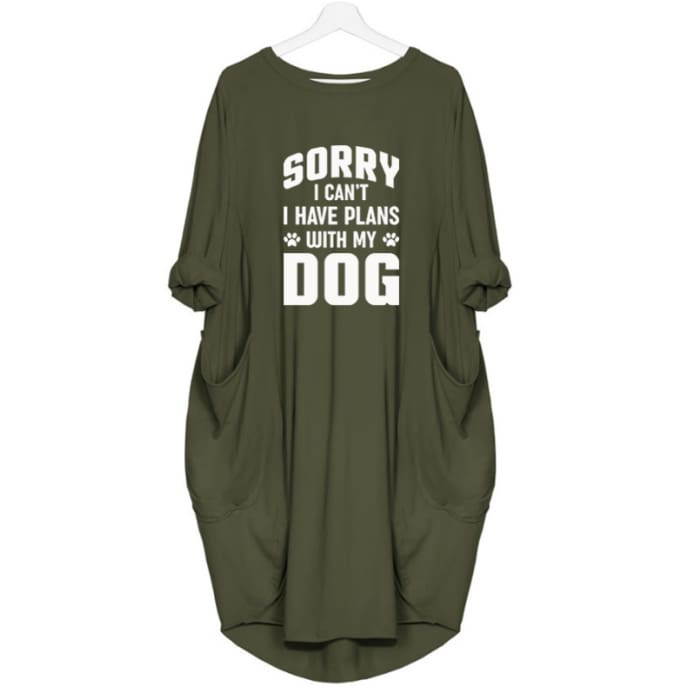Gracie - Sorry I Cant I Have Plans With My Dog Dress For Her Green / S (4-6 US) (8 UK) Just Superb Free Shipping
