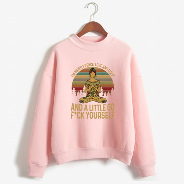 Hattie - Im Mostly Peace Love And Light... Sweater Pink / S (US XXS / UK XS) Just Superb Free Shipping