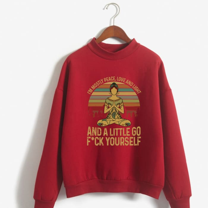 Hattie - Im Mostly Peace Love And Light... Sweater Red / S (US XXS / UK XS) Just Superb Free Shipping