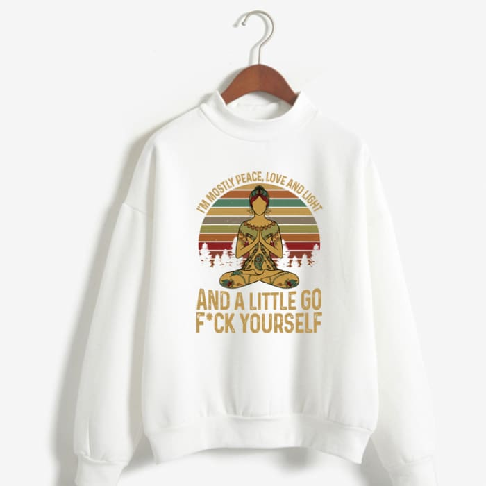Hattie - Im Mostly Peace Love And Light... Sweater White / S (US XXS / UK XS) Just Superb Free Shipping