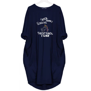 Leena - Rock Paper Scissors Throat Punch! I Win! Dress For Her Blue / S (4-6 US) (8 UK) Just Superb Free Shipping