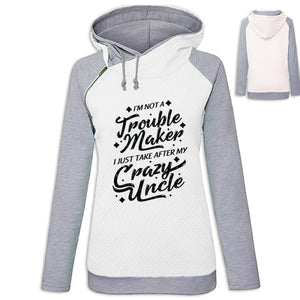 Lindsay - Im Not A Troublemaker I Just Take After My Crazy Uncle Hoodie White / S (US XXS) (UK XS) Hoodie Just Superb Free Shipping