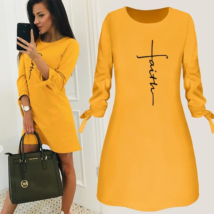 Lydia - Chic Designer Dress For Her Yellow / S (4-6 US) (8 UK) Just Superb Free Shipping