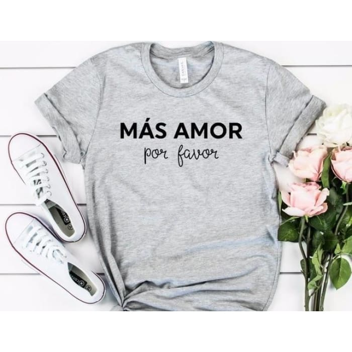 Más Amor Por Favor T-Shirt For Her Black / S T-Shirts Just Superb Free Shipping