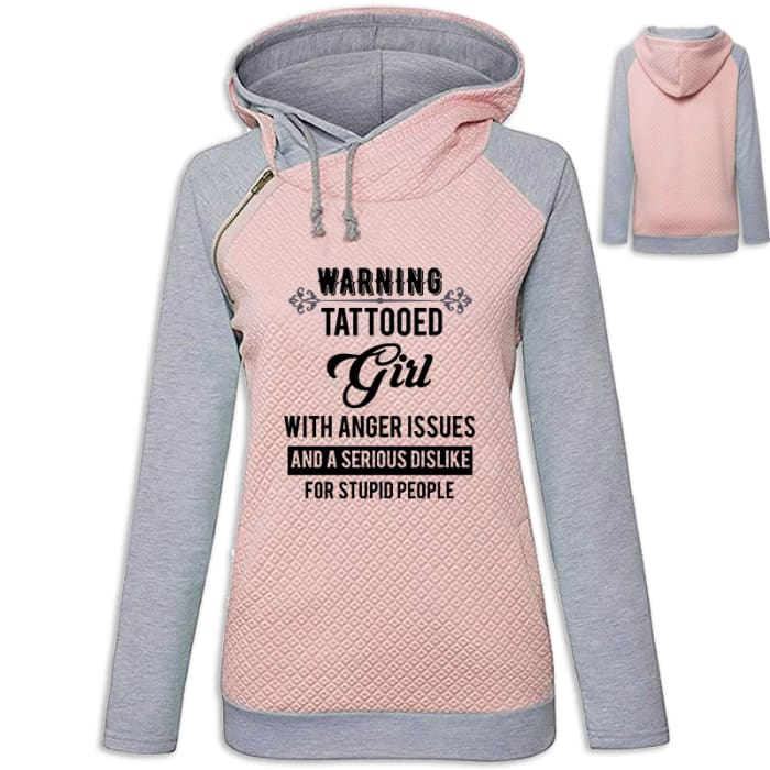 Matilda - Warning - Tattooed Girl With Anger Issues... Hoodie Pink / S (US XXS) (UK XS) Hoodie Just Superb Free Shipping
