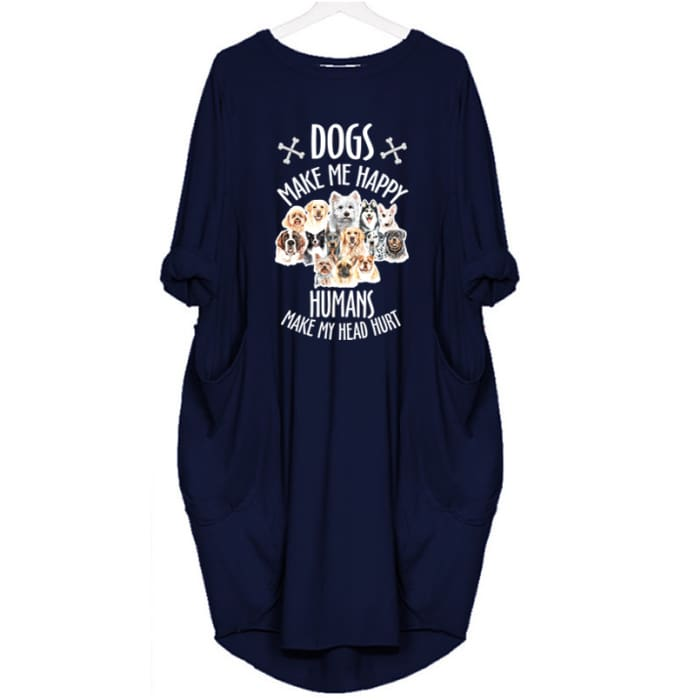 Mizzy - Dogs Makes Me Happy... Dress For Her Blue / S (4-6 US) (8 UK) Just Superb Free Shipping