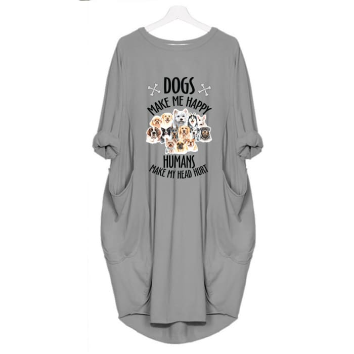 Mizzy - Dogs Makes Me Happy... Dress For Her Gray / S (4-6 US) (8 UK) Just Superb Free Shipping