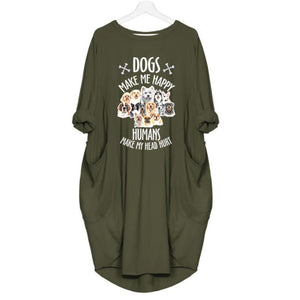 Mizzy - Dogs Makes Me Happy... Dress For Her Green / S (4-6 US) (8 UK) Just Superb Free Shipping