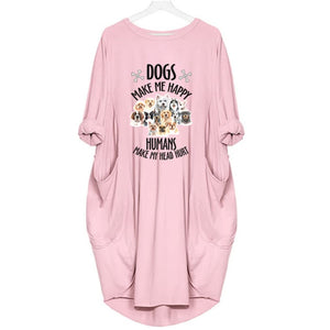 Mizzy - Dogs Makes Me Happy... Dress For Her Pink / S (4-6 US) (8 UK) Just Superb Free Shipping