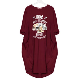 Mizzy - Dogs Makes Me Happy... Dress For Her Red / S (4-6 US) (8 UK) Just Superb Free Shipping