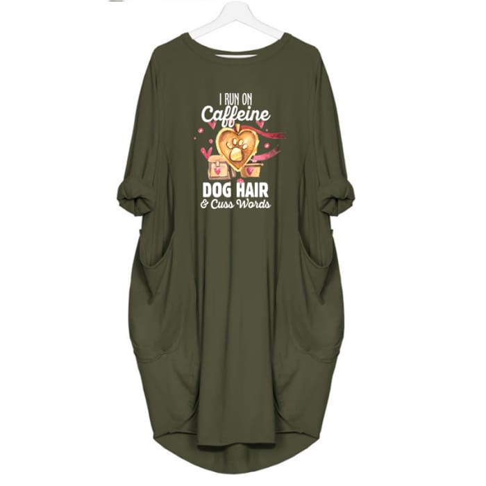 Molly - I Run On Caffeine Dog Hair And Cuss Words Dress For Her Green / S (4-6 US) (8 UK) Just Superb Free Shipping