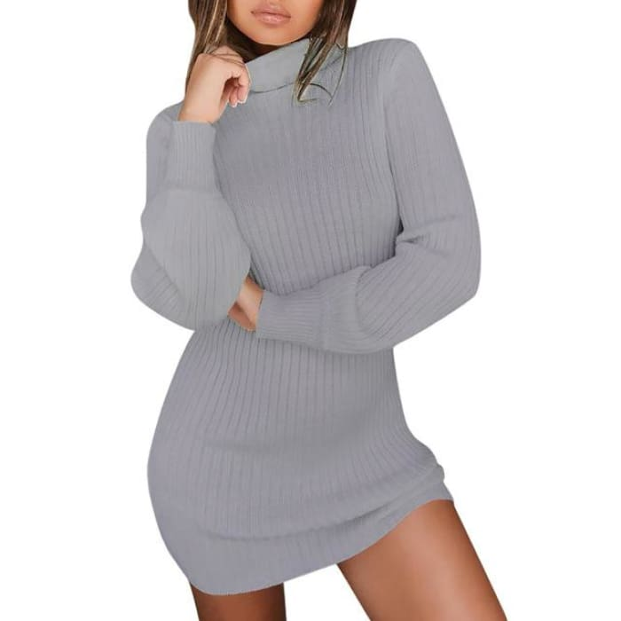 Nicolette - Turtleneck Sweater Dress Black / S (4-6 US) (8 UK) Pullovers Just Superb Free Shipping