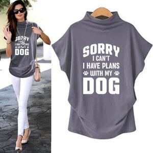 Queensy - Sorry I Cant I Have Plans With My Dog Casual Turtleneck Blouse Blouses & Shirts Just Superb Free Shipping
