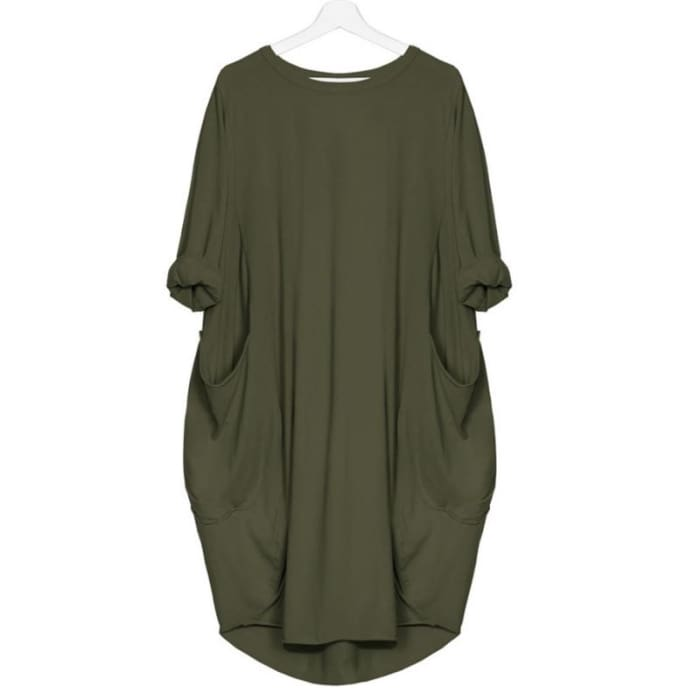 Riri - Loose Styled Pocket Dress Green / S (4-6 US) (8 UK) Dresses Just Superb Free Shipping