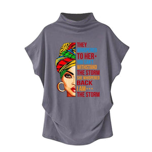Stormy - They Whispered To Her You Cant Withstand The Storm... Casual Turtleneck Blouse Gray / S (4 US) (8 UK) Blouses & Shirts Just Superb