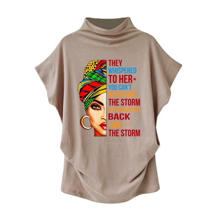 Stormy - They Whispered To Her You Cant Withstand The Storm... Casual Turtleneck Blouse Khaki / S (4 US) (8 UK) Blouses & Shirts Just Superb