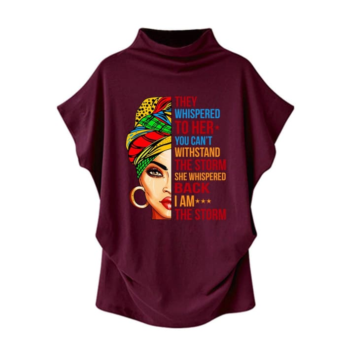 Stormy - They Whispered To Her You Cant Withstand The Storm... Casual Turtleneck Blouse Red / S (4 US) (8 UK) Blouses & Shirts Just Superb