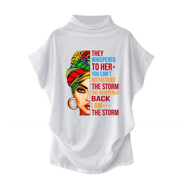 Stormy - They Whispered To Her You Cant Withstand The Storm... Casual Turtleneck Blouse White / S (4 US) (8 UK) Blouses & Shirts Just Superb