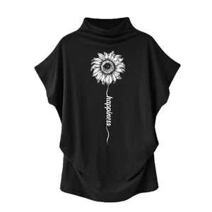 Sundara - Happiness Sunflower Casual Turtleneck Blouse Black / S (4 US) (8 UK) Blouses & Shirts Just Superb Free Shipping